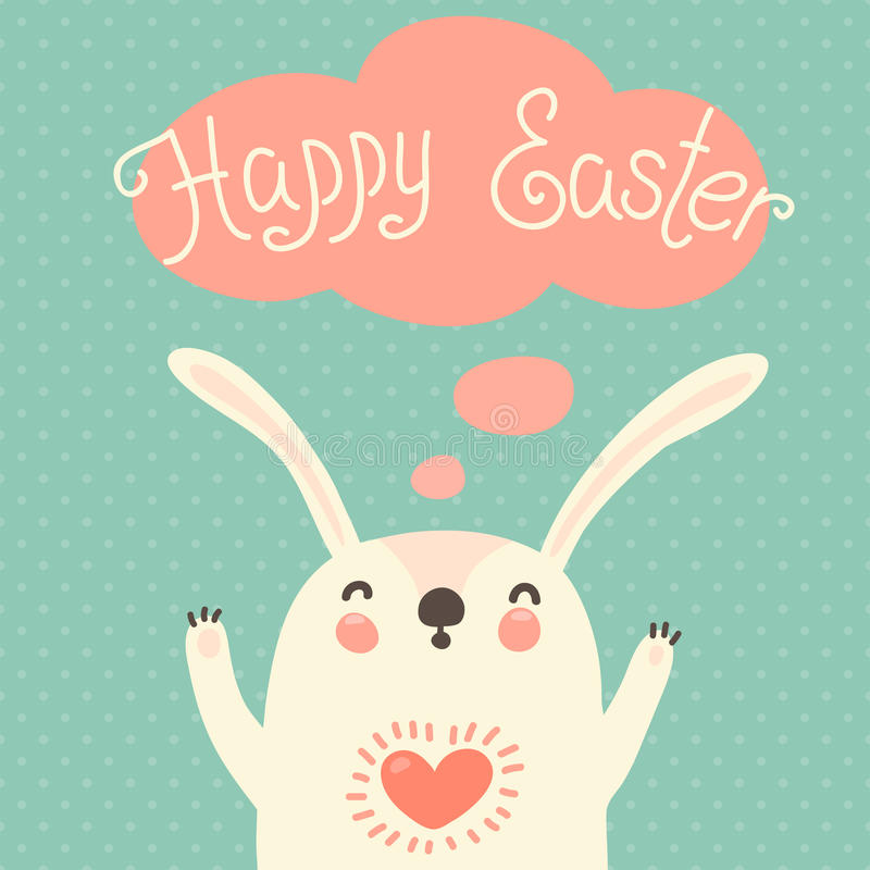 Happy Easter card with cute bunny. royalty free illustration