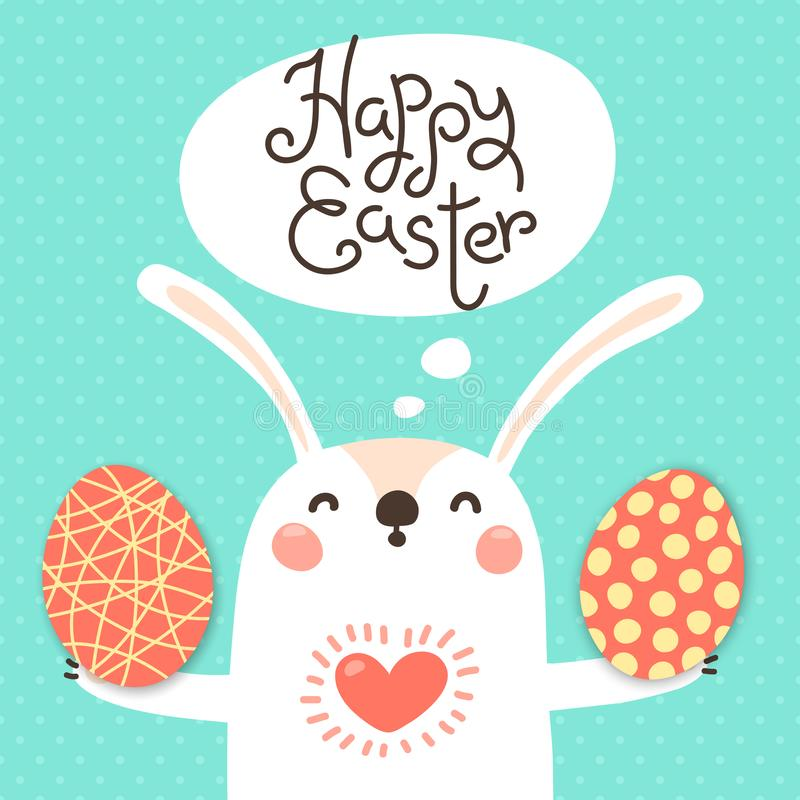Happy Easter card with cute bunny. White rabbit with painted egg. Vector illustration stock illustration