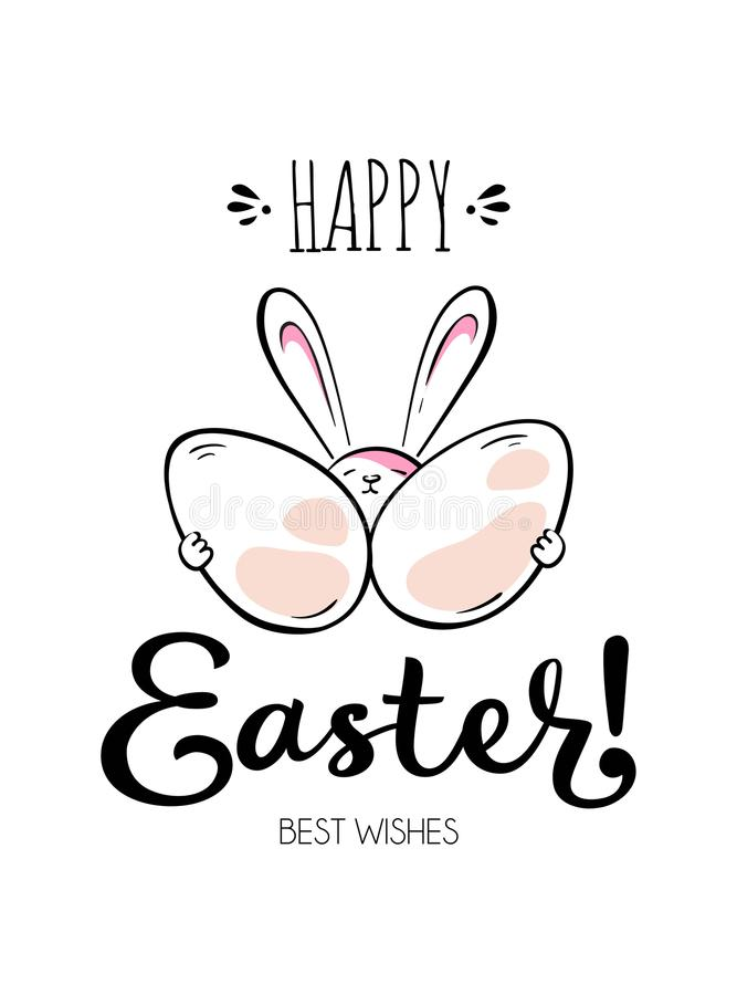 Happy Easter card with rabbit, egg and lettering vector illustration
