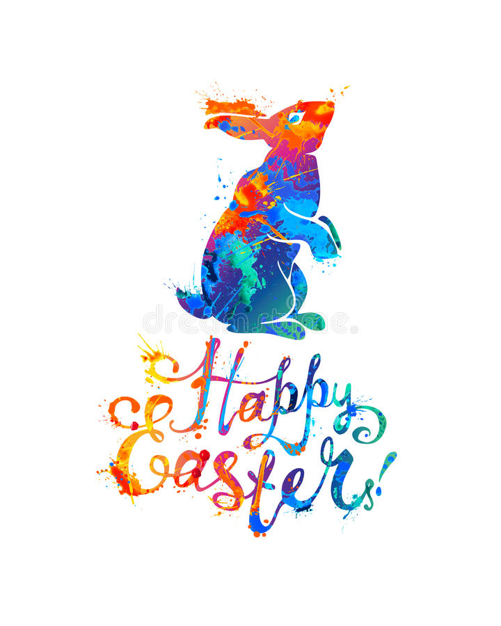 Happy Easter card. Easter bunny and hand written inscription. Christian holiday vector illustration