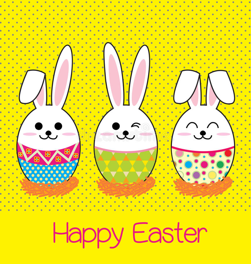 Happy easter card. Egg bunny easter on yellow background royalty free illustration