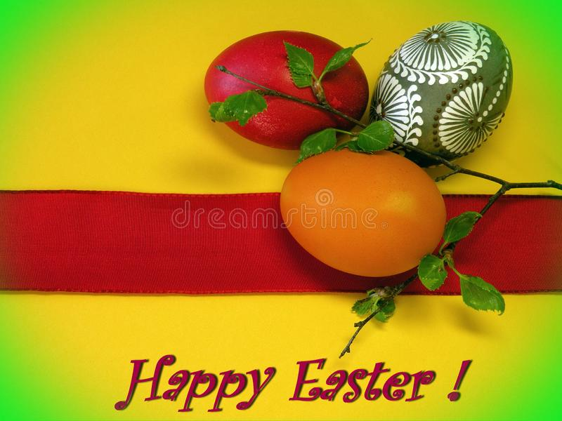 Happy Easter card with easter eggs stock photo