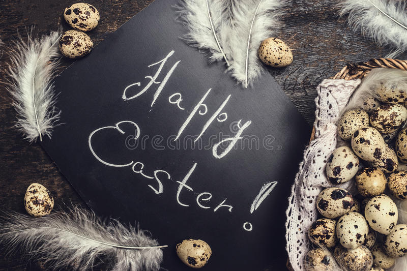 Download Happy Easter Card With Eggs And Feathers Stock Image - Image: 83702805