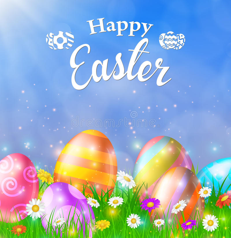 Happy Easter Card with Eggs, Grass, Flowers royalty free illustration