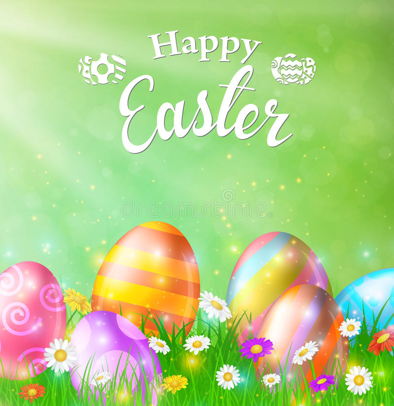 Happy Easter Card with Eggs, Grass, Flowers stock illustration