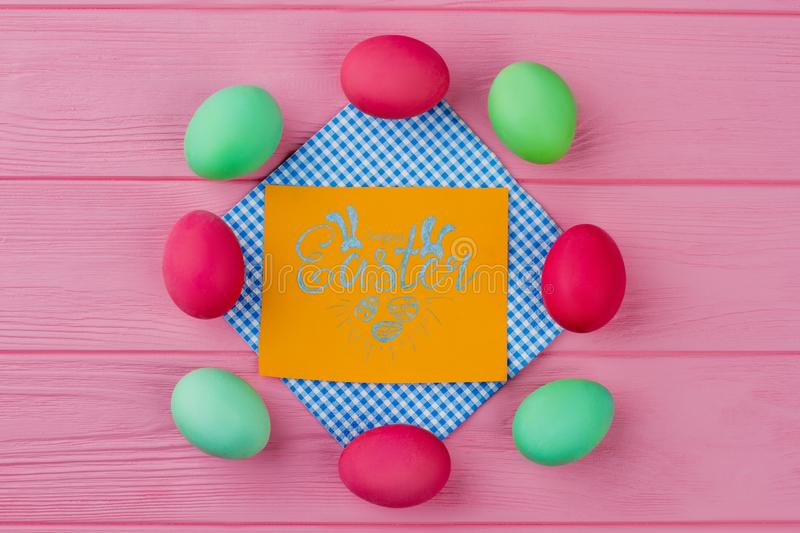 Happy Easter card and eggs. stock photos