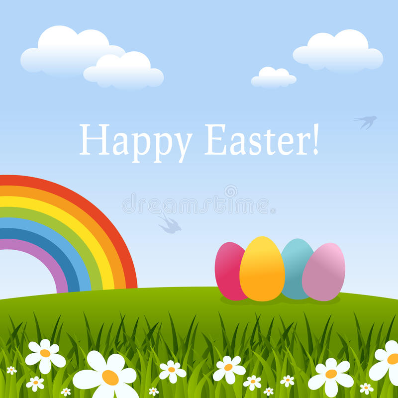 Download Happy Easter Card With Eggs & Rainbow Stock Vector - Image: 39526081