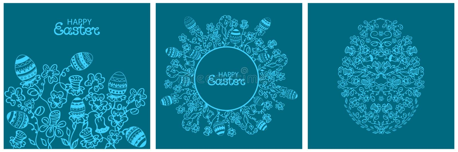Happy Easter card flowers and paschal eggs. Round floral frame in doodle style royalty free illustration