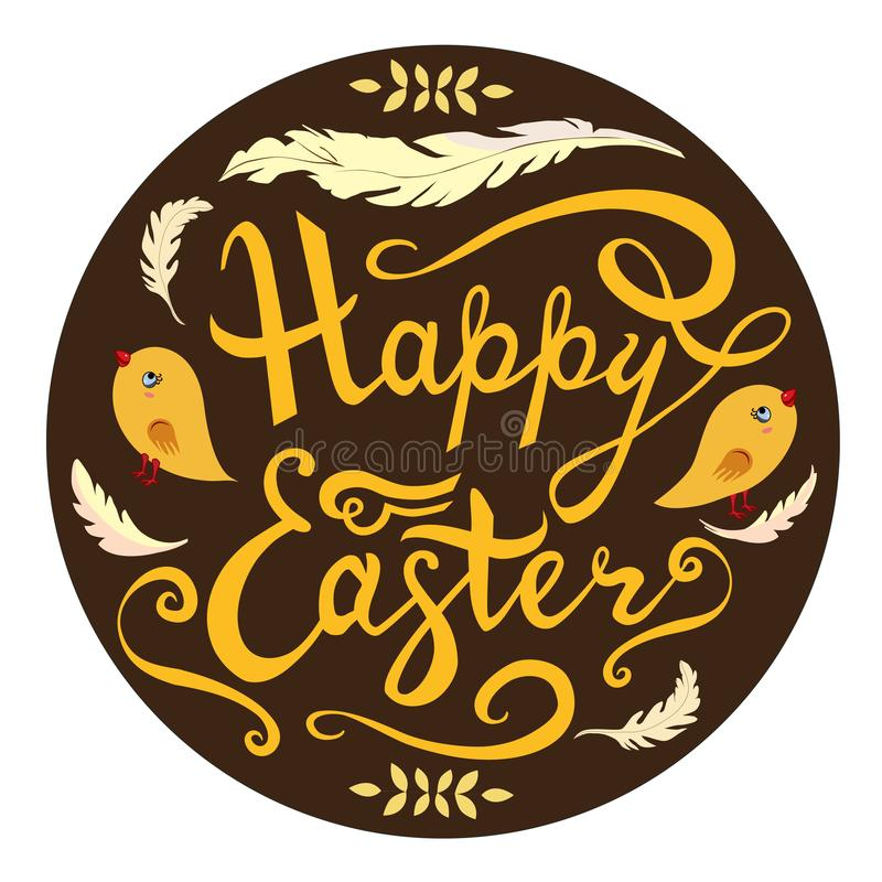 Happy Easter card  hand drawn lettering phrase with birds, feathers and herbs isolated on brown background. Vector royalty free illustration