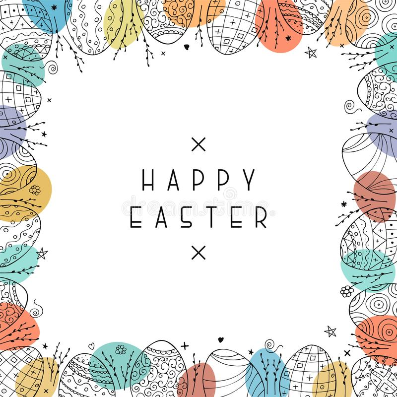 Happy easter card with hand drawn ornamental eggs. Colorful greeting frame royalty free illustration