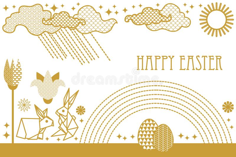 Happy Easter card with hare, blooming spring flowers, rainbow, sun, clouds and ornate eggs. stock illustration