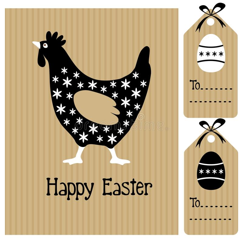 Happy easter card with hen and eggs, invitation, b vector illustration