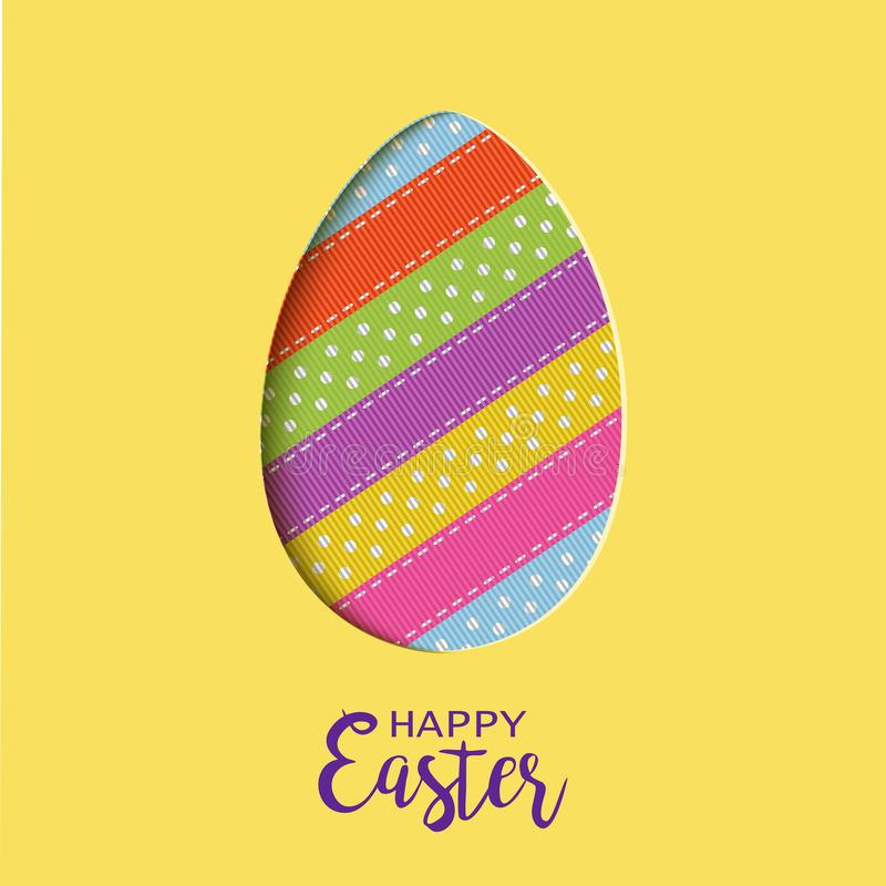 Happy Easter card with lettering, cut out Easter egg royalty free illustration