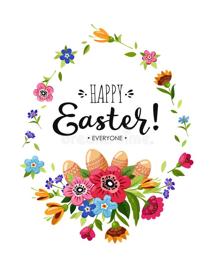 Happy Easter card with lettering and flowers and Easter Eggs royalty free illustration