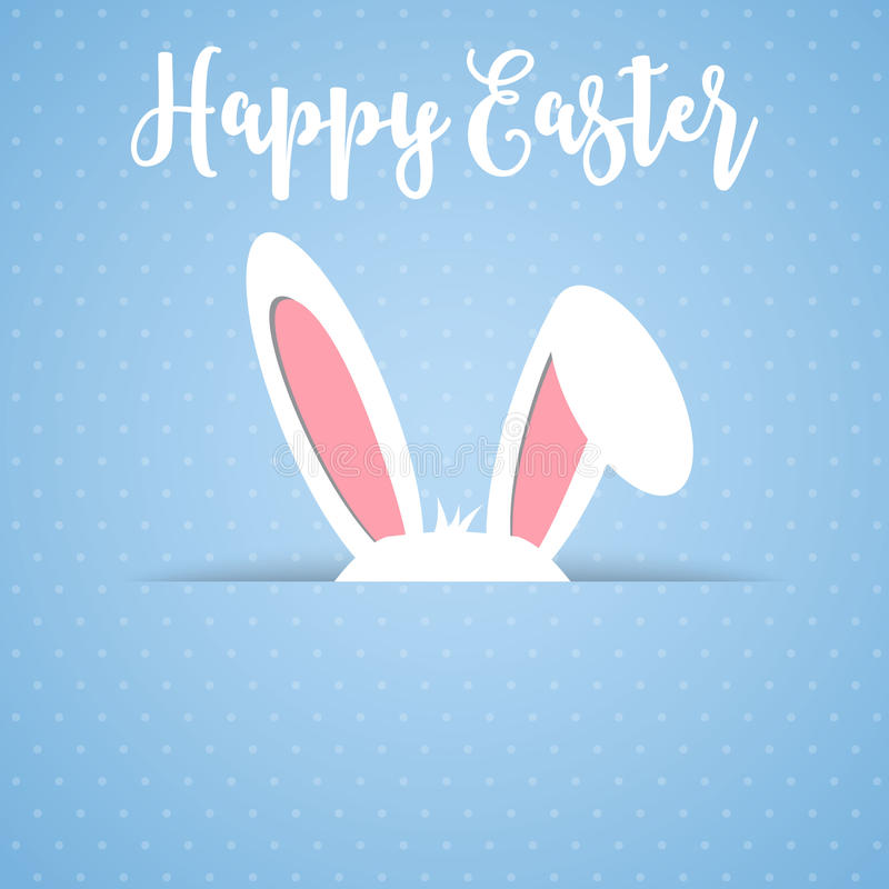 Happy Easter card with rabbit ears vector illustration