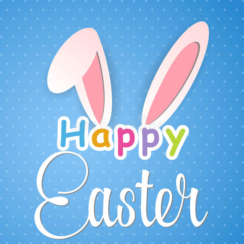 Happy Easter card with rabbit ears royalty free illustration