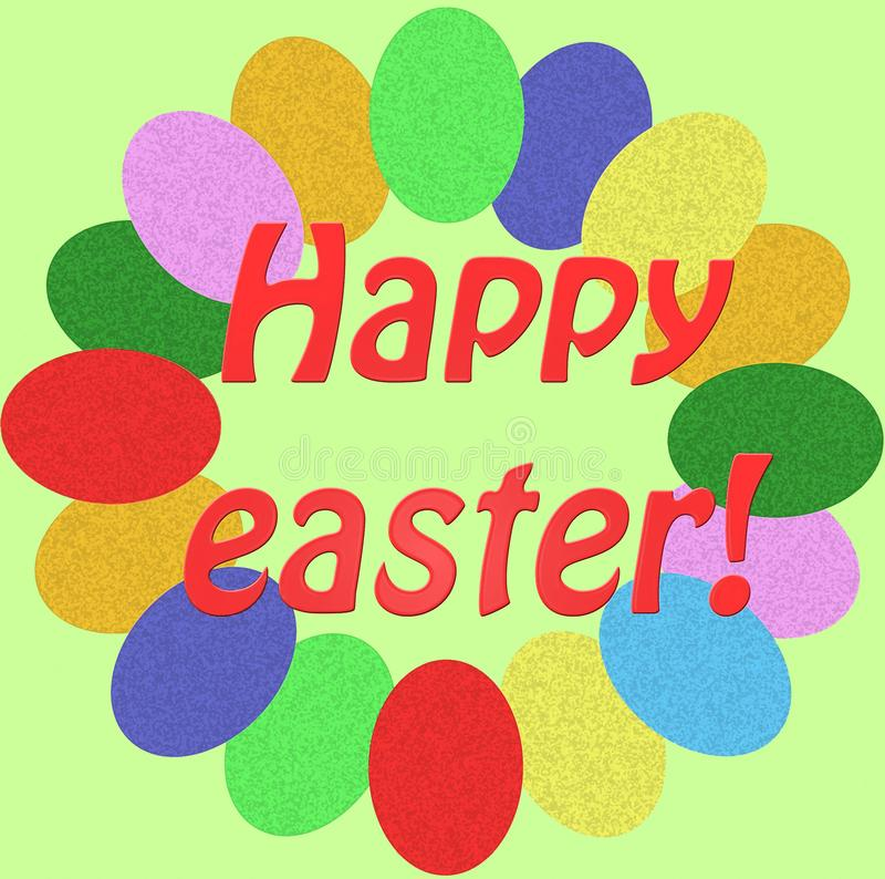 Happy easter card - with small colored eggs royalty free stock images