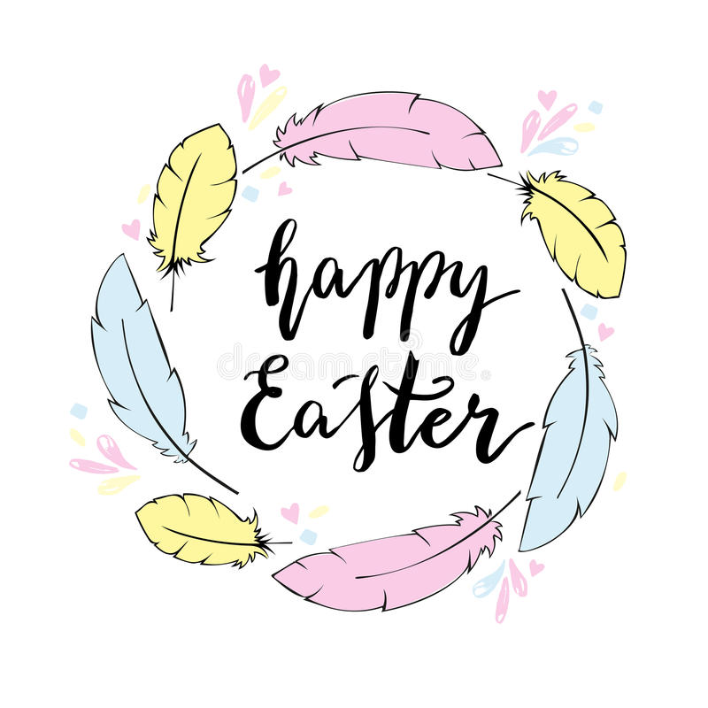 Happy Easter Card Template Hand Lettering Stock Vector