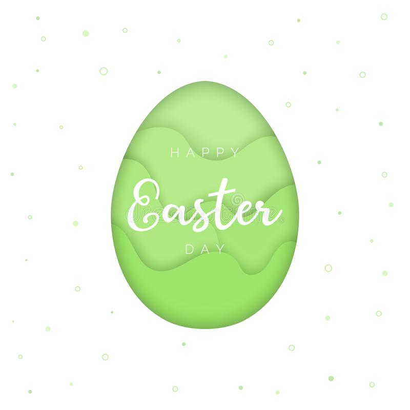 Happy Easter card template, papercut style egg, green background vector illustration