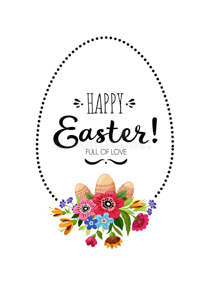 Happy Easter card with vector flowers, eggs,leaves royalty free illustration