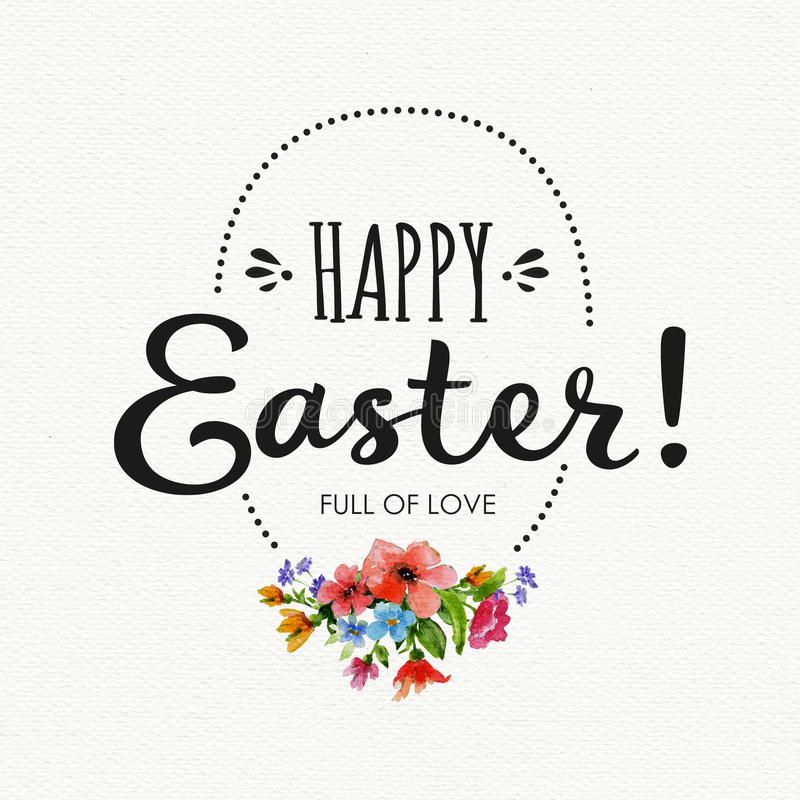 Happy Easter card with watercolor flowers ,lettering and egg frame stock illustration