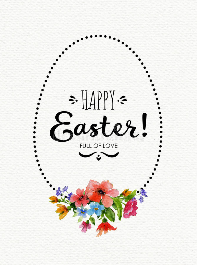 Happy Easter card with watercolor flowers ,lettering and egg frame vector illustration