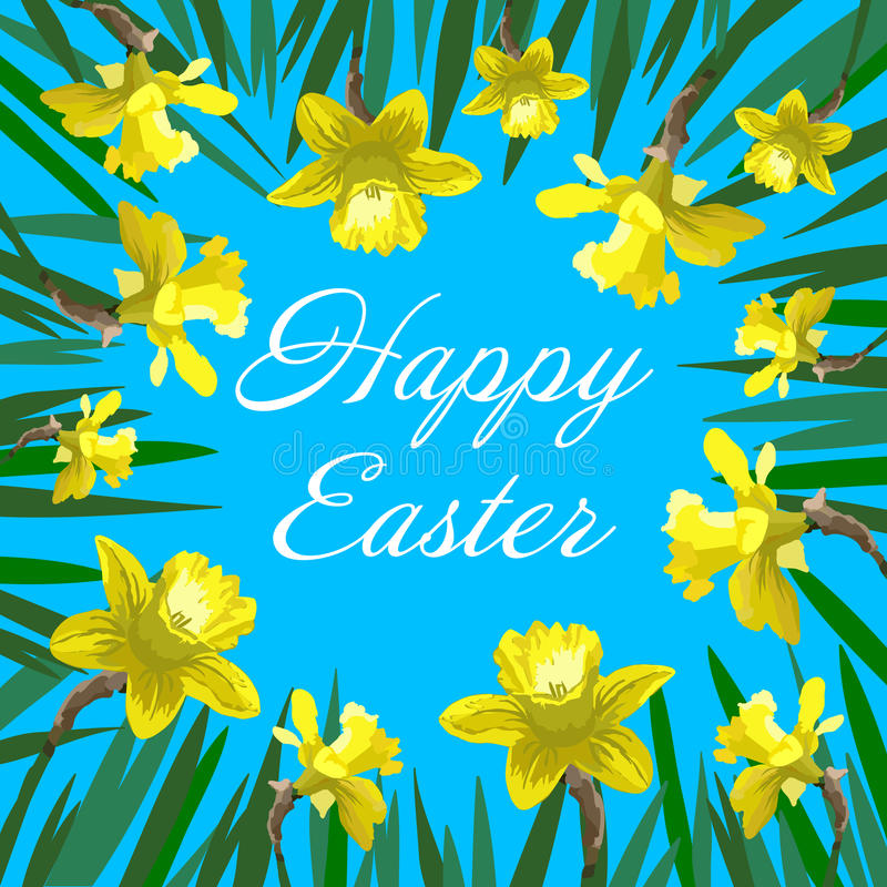 Happy Easter card with yellow narcissus can be used as invitation card for wedding. Birthday and other holiday and summer or spring background vector illustration