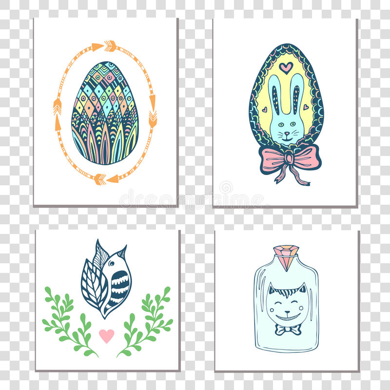 Happy easter cards with hand drawn eggs and cute elements. Vector holiday decoration. vector illustration