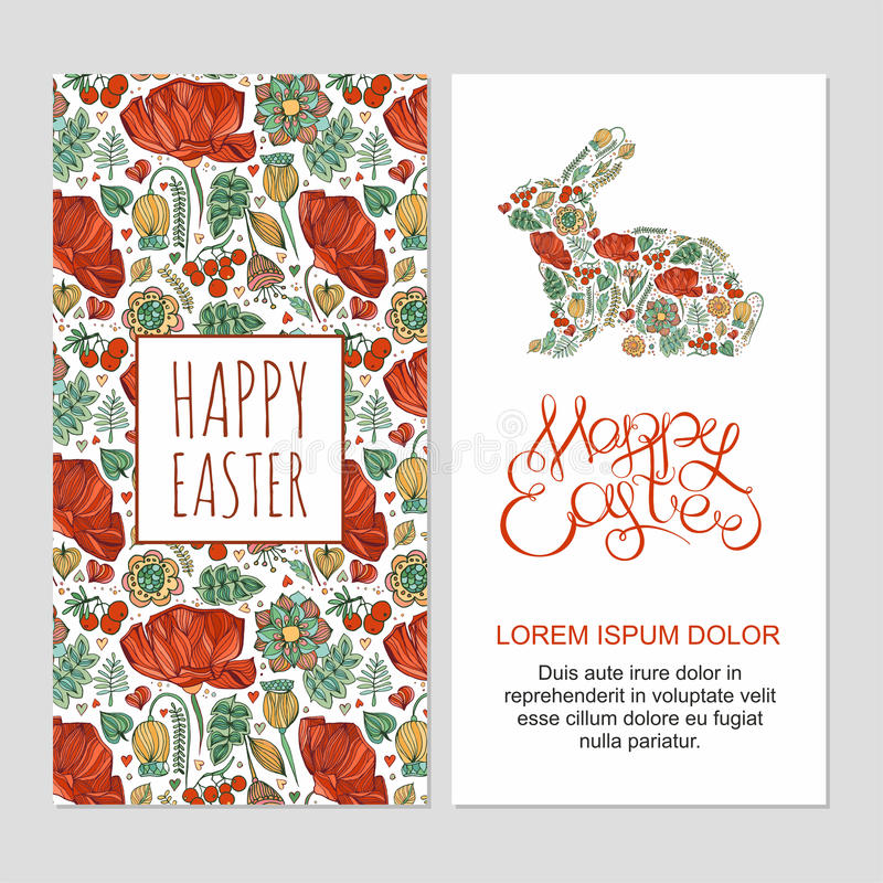 Happy easter cards illustration with decorative floral easter bu stock photography