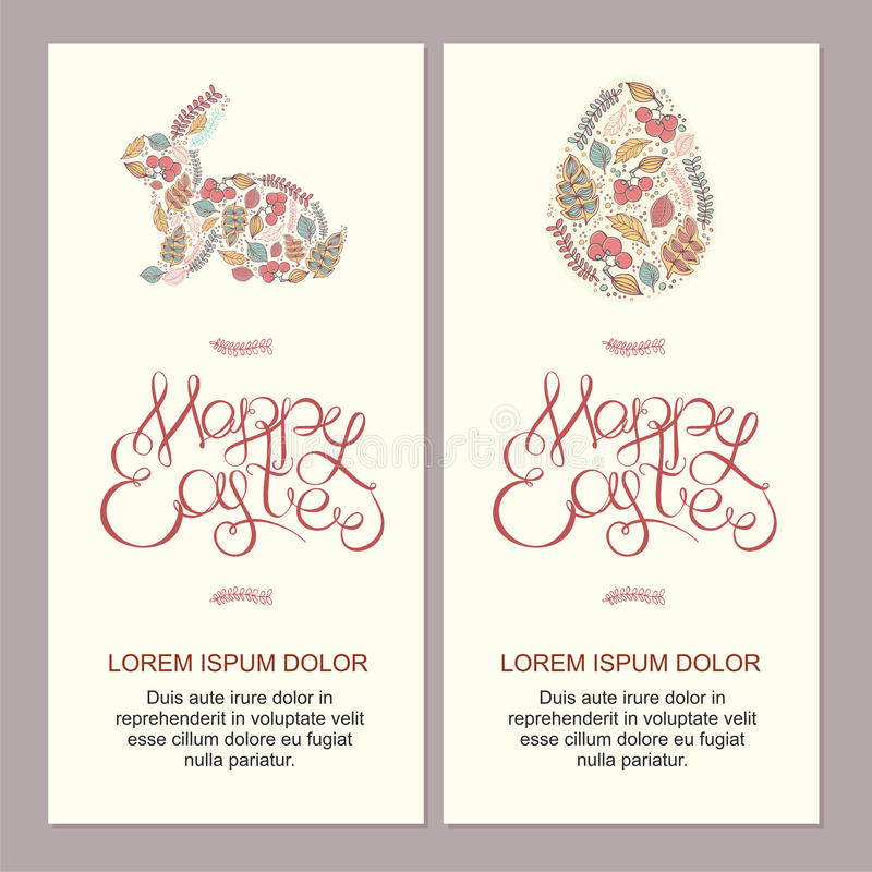 Happy easter cards illustration with decorative floral easter eggs, easter bunny, easter rabbit and hand lettering stock images