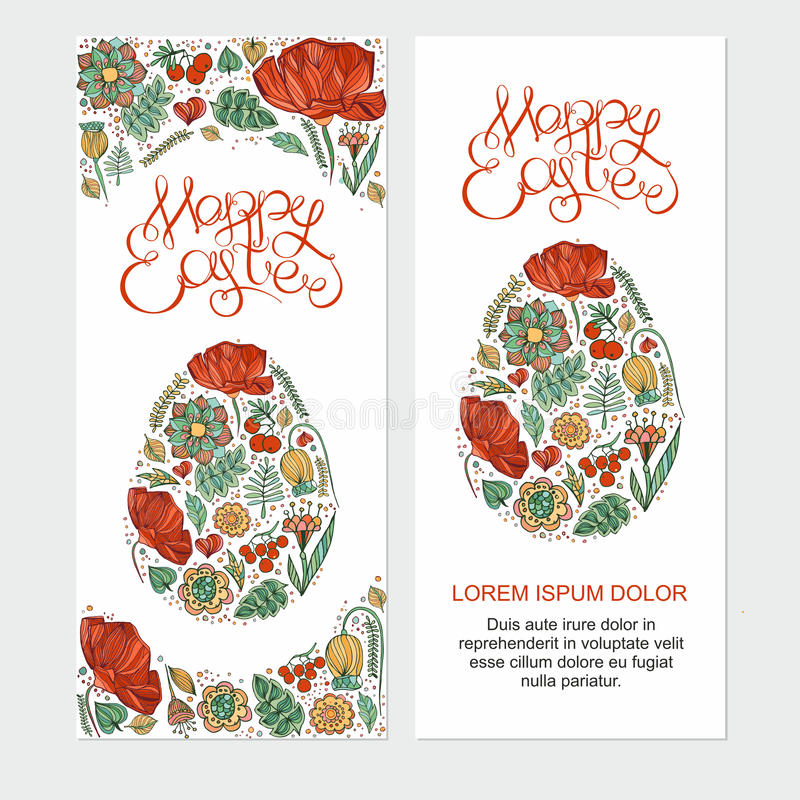 Happy easter cards illustration with easter egg royalty free stock image
