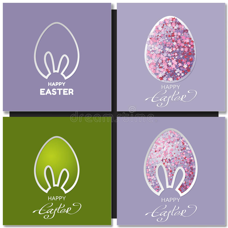 Happy Easter cards set with bunny ears stock illustration