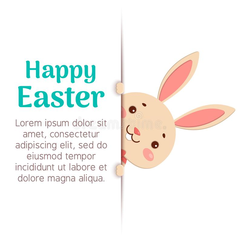 Happy Easter. Easter cartoon bunny is looking out of the hole and holding the text place. A cute easter bunny is looking out of the hole and holding the text stock illustration