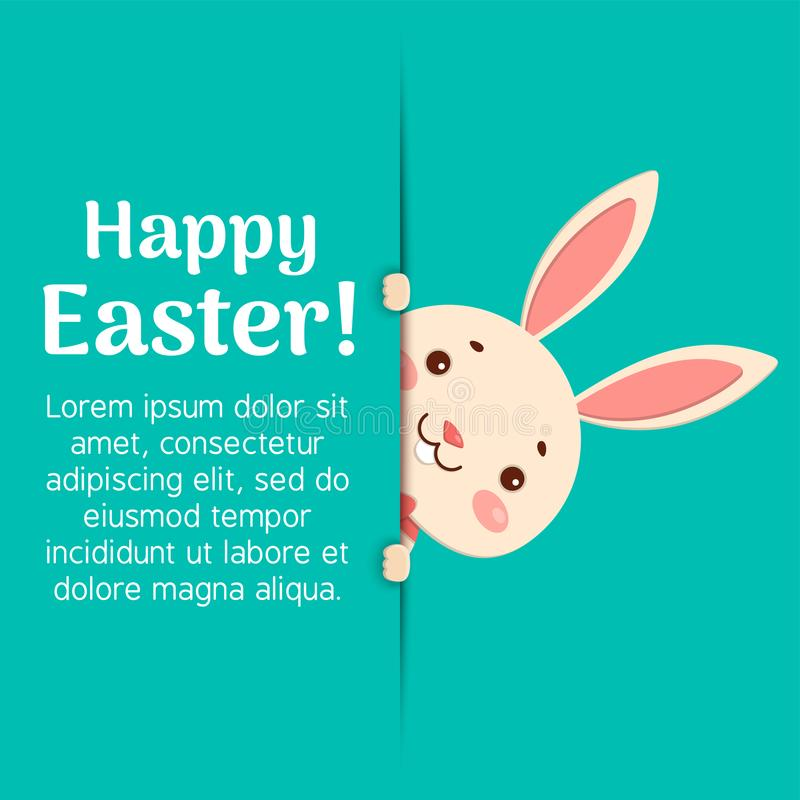 Happy Easter. Easter cartoon bunny is looking out of the hole and holding the text place. A cute easter bunny is looking out of the hole and holding the text vector illustration