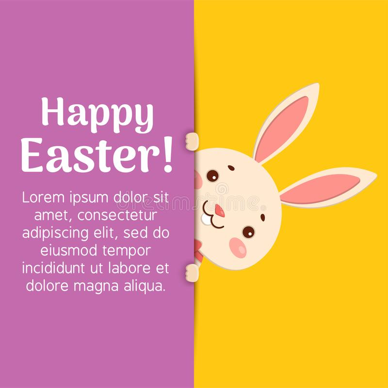 Happy Easter. Easter cartoon bunny is looking out of the hole and holding the text place. A cute easter bunny is looking out of the hole and holding the text royalty free illustration