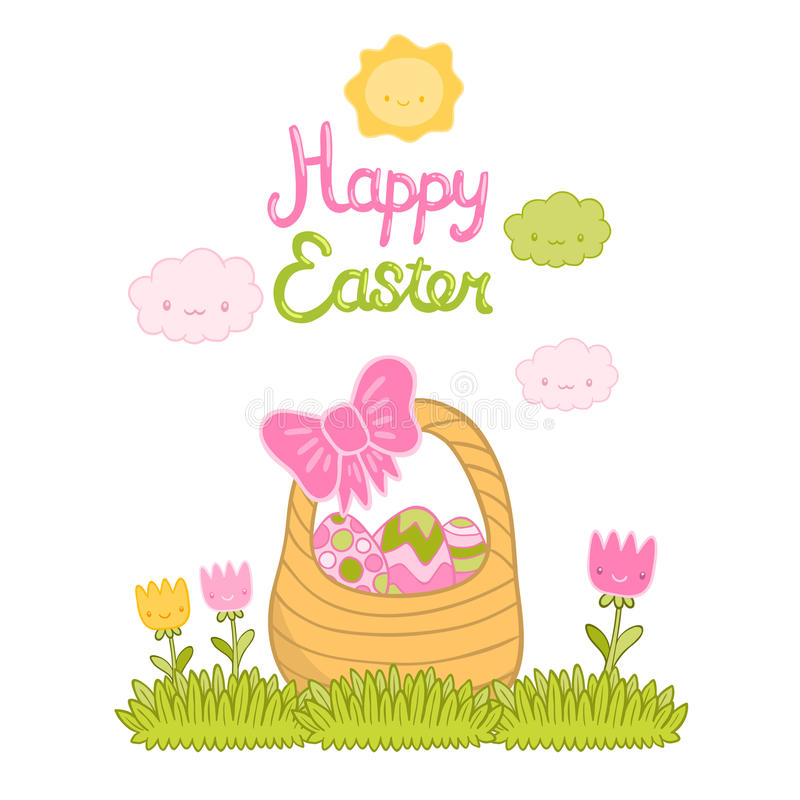 Happy Easter cartoon cute basket and eggs royalty free illustration