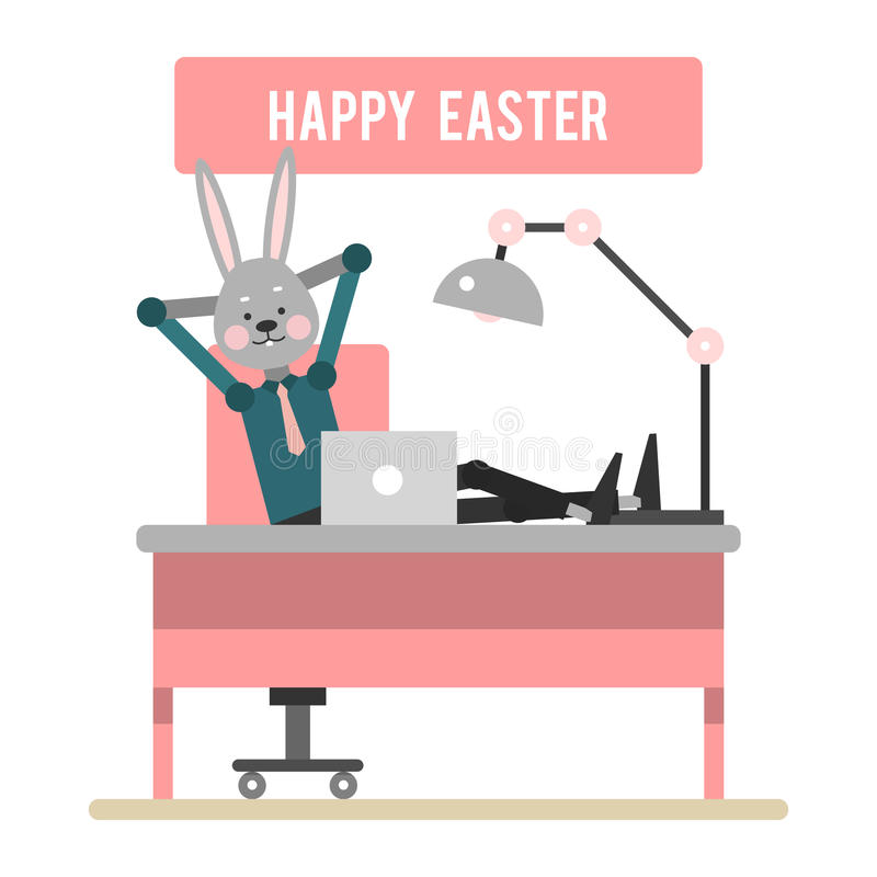 Happy Easter. Cartoon rabbit resting in the workplace. Template vector illustration