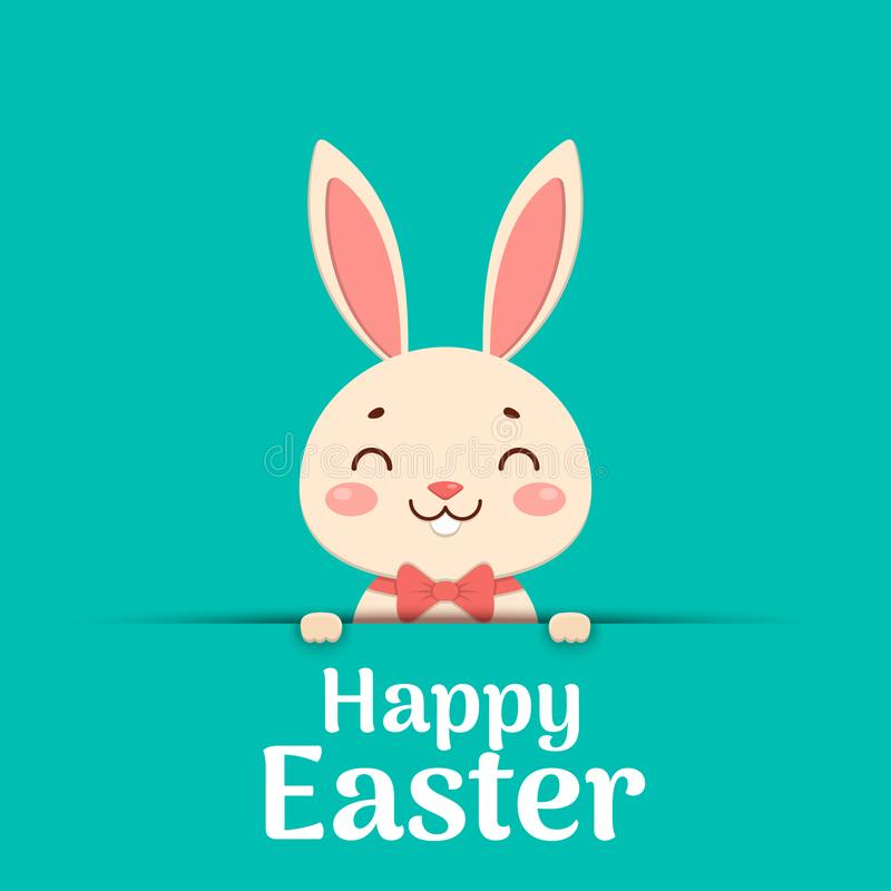 Happy Easter. Easter cartoon smiling bunny in a red bow tie is looking out of the hole and holding the text place. A cute easter cartoon smiling bunny in a red royalty free illustration