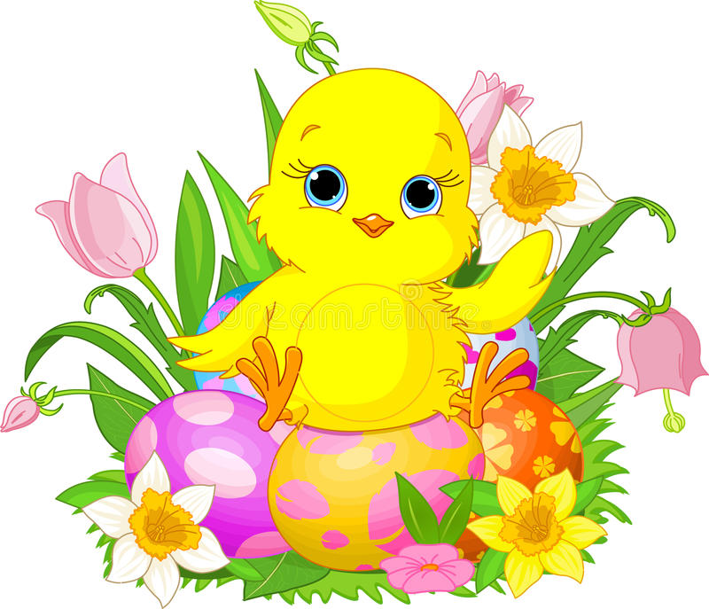 Happy Easter chick vector illustration