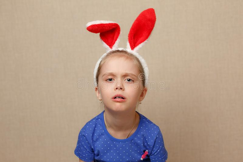 Happy easter. Child girl with bunny ears. stock image