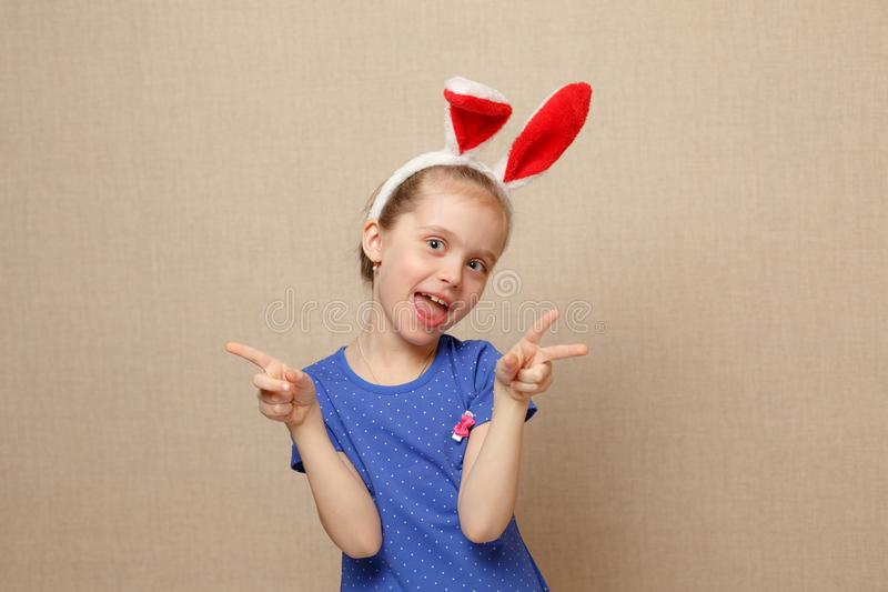 Happy easter. Child girl with bunny ears. royalty free stock photos
