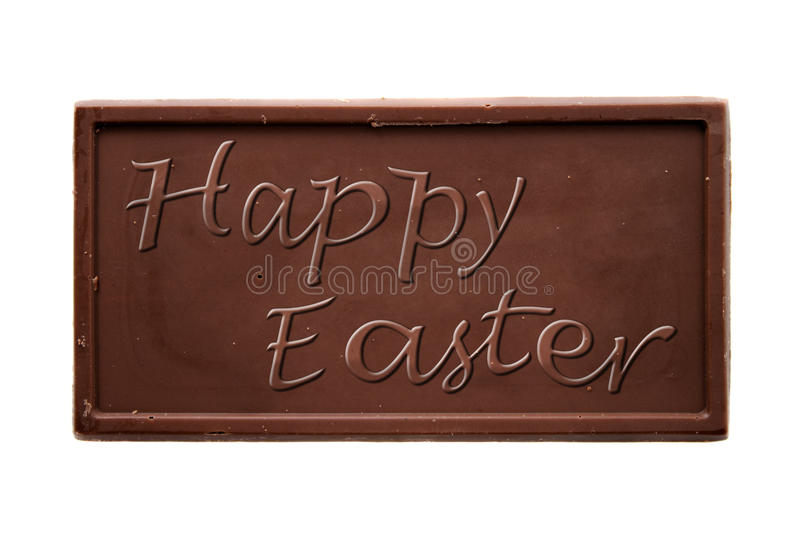 Happy Easter chocolate bar. Isolated on white background royalty free stock photo