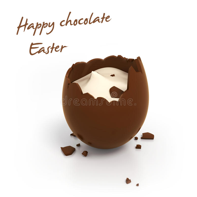 Happy Easter chocolate egg with cream filling stock photos