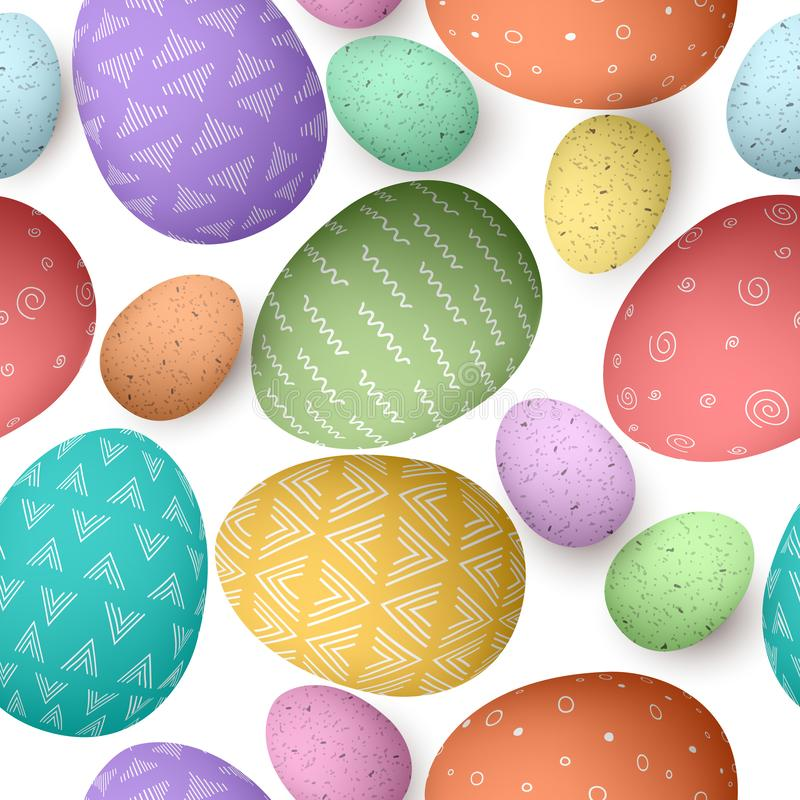 Happy Easter color ornated big and small eggs seamless pattern . Set of Easter eggs with different simple textures on white vector illustration