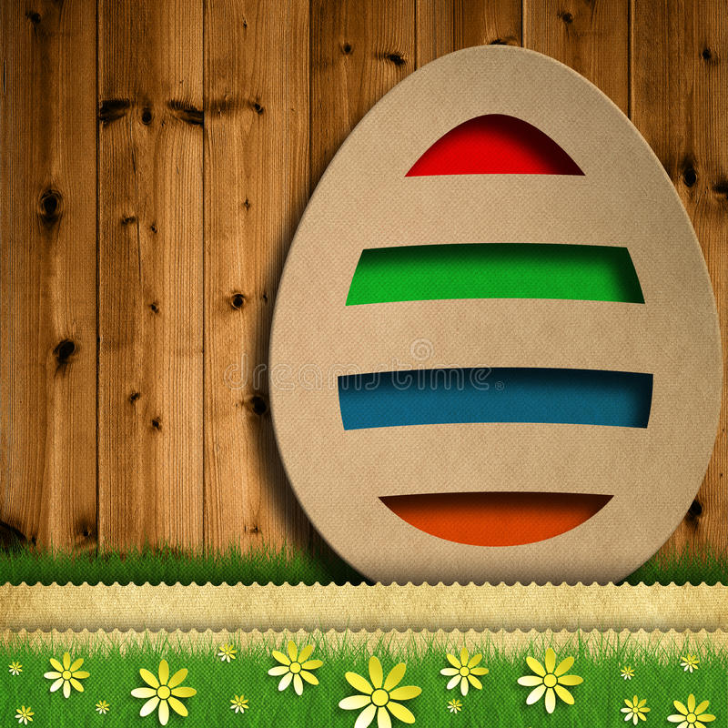 Happy Easter - colored easter egg on wooden background royalty free illustration