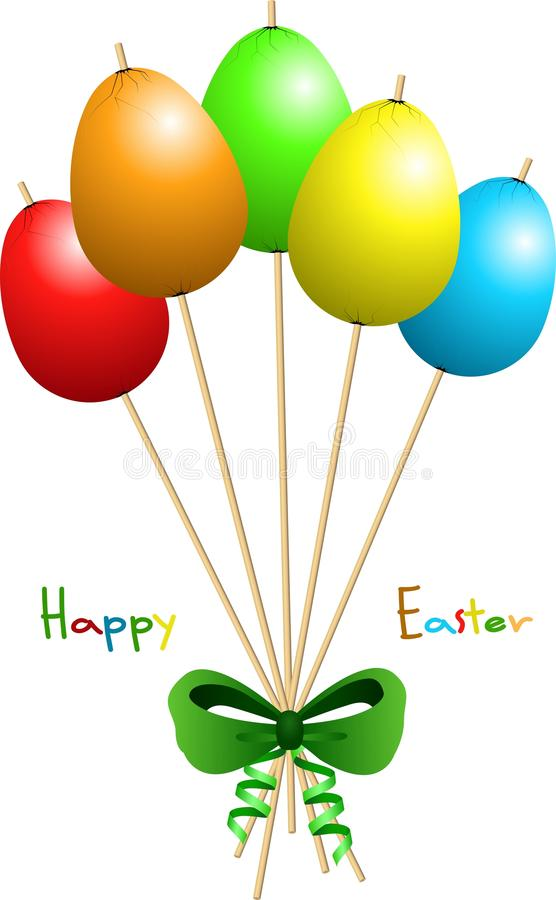 Happy Easter colored eggs tapped at wooden sticks. Happy Easter wish with colored eggs tapped at wooden sticks vector illustration