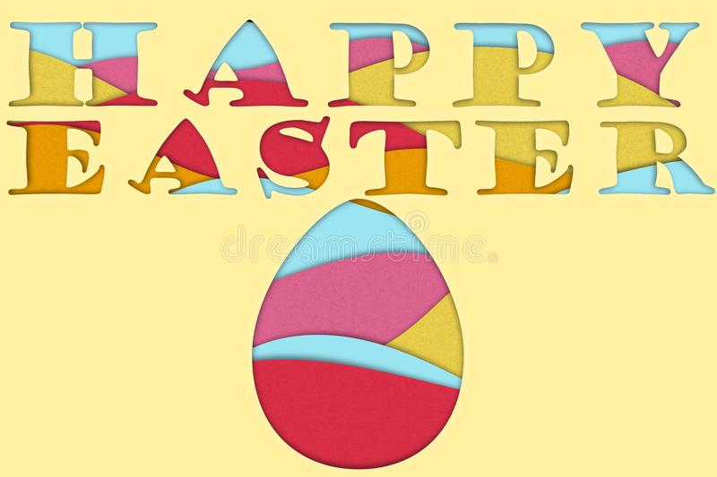 Happy Easter colorful 3D papermade Poster royalty free stock photos