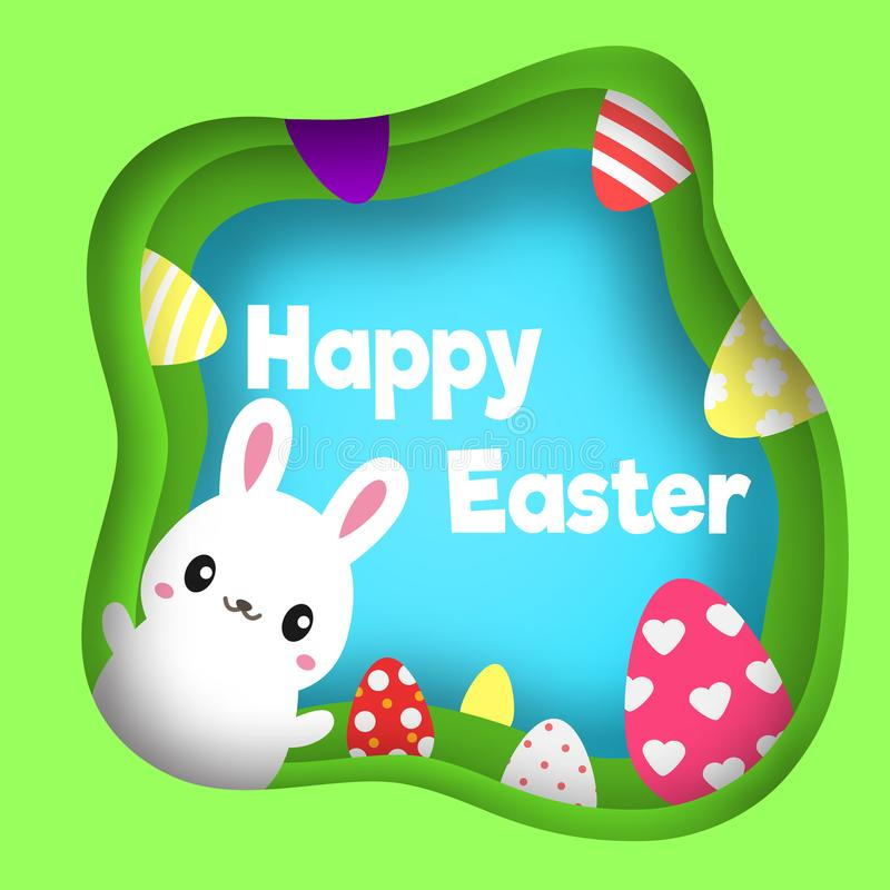 Happy Easter. Colorful Easter banner with cute rabbit character. Background in paper cut, paper craft style. Spring Seasonal greet royalty free illustration