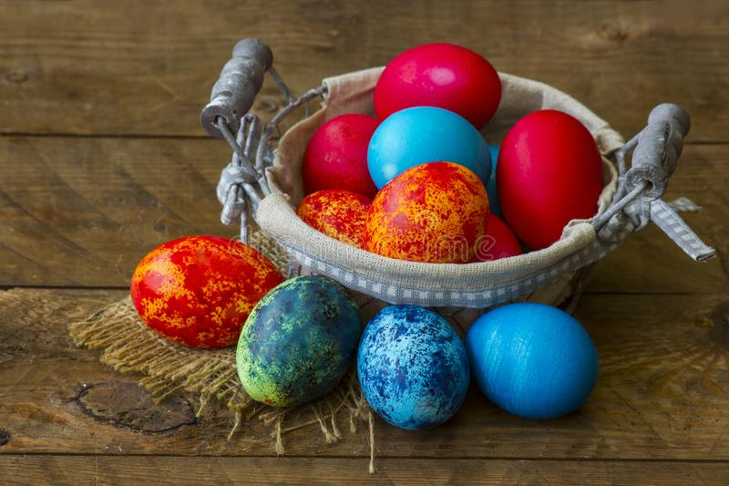 Happy Easter, colorful eggs stock image