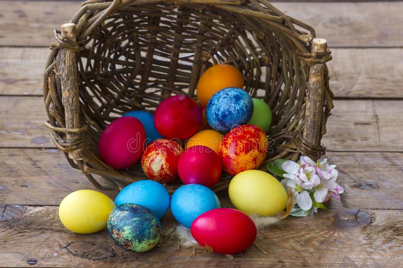 Happy Easter, colorful eggs royalty free stock photography